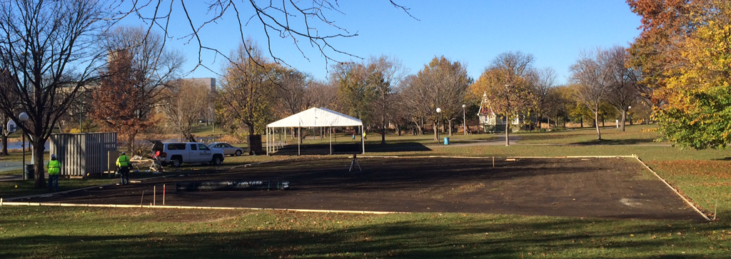 The downtown skating rink, which will debut at Holidazzle on Friday,  November 27, is currently being constructed in Loring Park and will bring a longstanding Minnesota tradition of outdoor skating to Downtown Minneapolis.