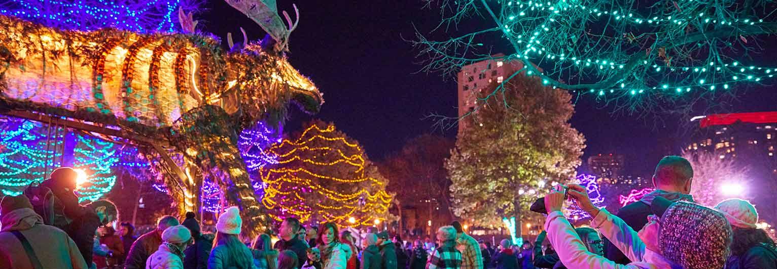 enjoy the interactive illuminated art wolf and moose installations